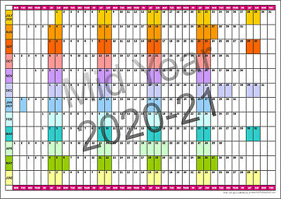2020/21 MID YEAR COLOUR CODED WALL PLANNER A2, A1, A0  July 2020 - June 2021 • 5£