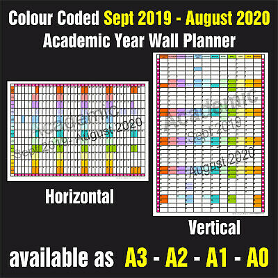 ACADEMIC YEAR COLOUR CODED WALL PLANNER A3, A2, A1, A0  Sept 2019 - Aug 2020 • 4.45£