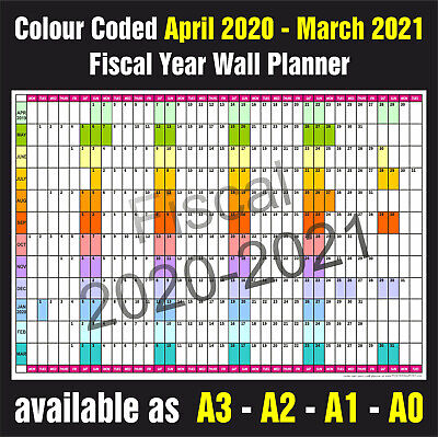 FISCAL YEAR COLOUR CODED WALL PLANNER A3, A2, A1, A0  April 2020 - March 2021 • 4.45£