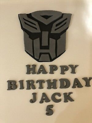 £9 • Buy Transformers  Hand Made Icing Name And Age. 4 Inch Face Cake Topper Birthday