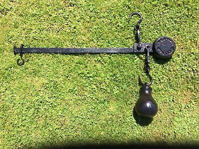 Scales Steelyard 9lb Weight Butcher Farm Meat Hook  Hanging Antique  • 69.99£