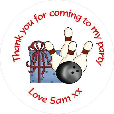 Personalised Birthday Stickers For Party Bags Etc 35mm - Bowling Design • 1.75£
