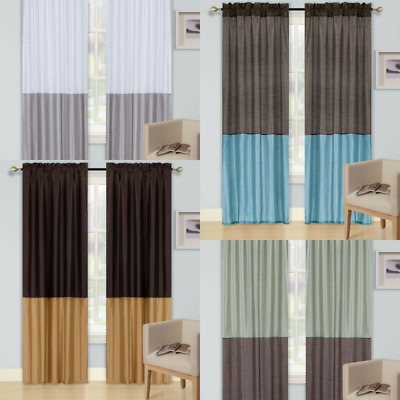 $14 • Buy 2pc Any Curtains Window  2tone Colors See Through Panel Faux Silk Rod Pocket New