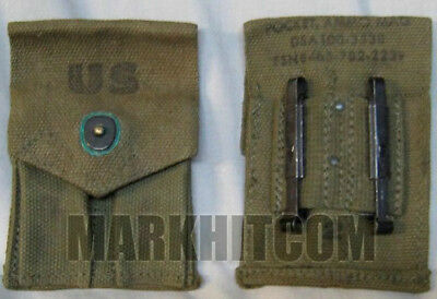 $29.55 • Buy VIETNAM US M1956 M56 Canvas .45 Dual OD Pocket 7rd Pouch NEW OLD STOCK