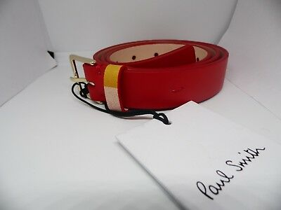 £59.89 • Buy Paul Smith Womens Red Leather Belt With Striped Keeper Size 80 Cm Bnwt