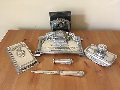 £196 • Buy 1920's Six Piece Silver Plated Inkstand And Blotter Desk Suite