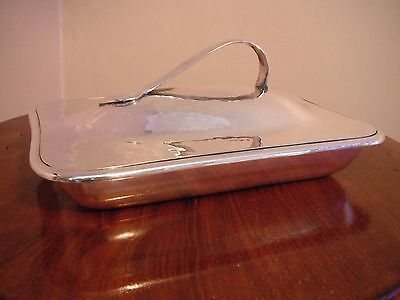 William Hutton Arts & Cafts Planished Silver Plate Entree Dish And Lid • 98£