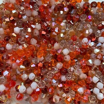 100 X 4mm Crystal Bicone Beads Summer Mix Tiaras  & Jewellery Making • 2.45£