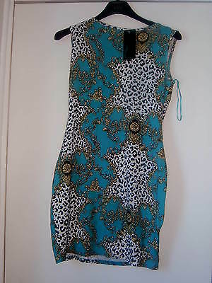 Jane Norman Animal Print And Turquoise Print Dress - Size 12 -new With Tag • 12£