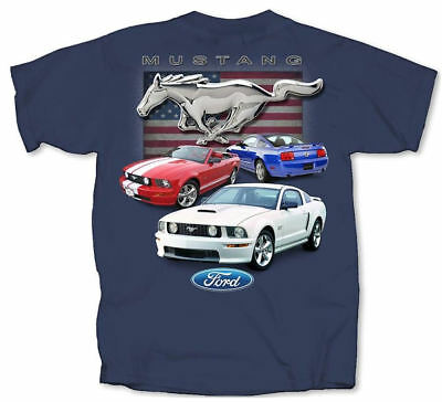 Ford Red White & Blue Mustangs Flag T Shirt • 26.99£