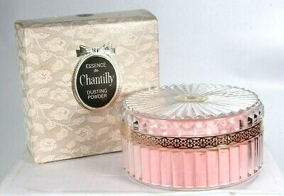 New Vintage Chantilly Dusting Powder 6 Oz Boxed Clear Acrylic With Pink Puff • 54.43$