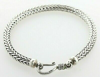 $99.99 • Buy Bali Indonesia 925 Sterling Silver 5mm Foxtail Wheat Braided Bracelet - 7.75