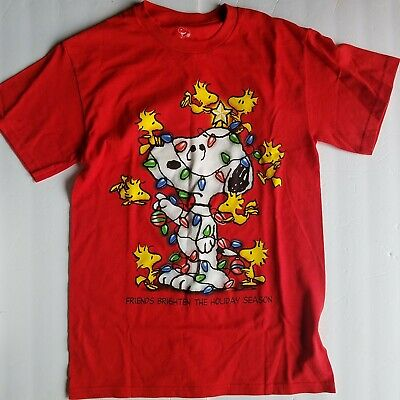 £5.66 • Buy Peanuts Christmas Snoopy/Woodstock T-Shirt Tangled Up In Lights By Schulze Small