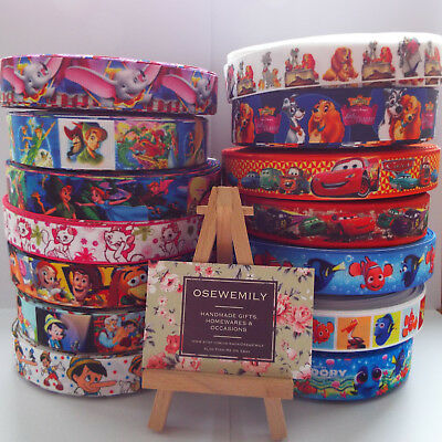 Per Metre Disney / Pixar Cartoon Grosgrain Ribbon 22/25mm Party Cake/ Hair Bows • 1.29£