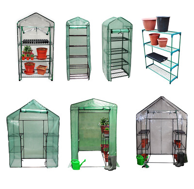 New Greenhouse PVC Plastic Outdoor Garden Grow Bag Green House With Shelves • 22.75£