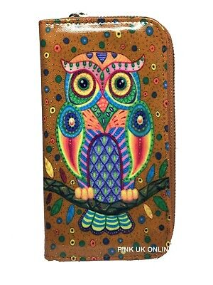 New Ladies Owl Art Large Size Purse Clutch Wallet • 7.90£