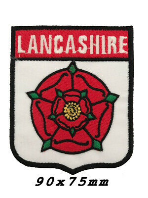 Novelty Backpackers Flag Shield Sew Iron On LANCASHIRE RED ROSE COUNTY-A1142 • 1.99£