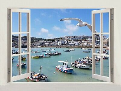 £19.99 • Buy 3D Window Effect On Canvas St.Ives Cornwall Uk Seagulls Picture Wall Art Print