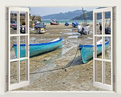 £19.99 • Buy 3D Window Effect On Canvas St.Ives Cornwall Uk Boats Picture Wall Art Print