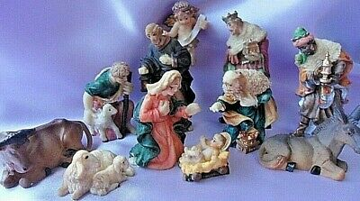 Set Of 11 Resin Nativity Figures 3  Hand Painted Resin Traditional Design. • 9.95£