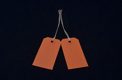 25 Orange Strung Tie On Tags 82mm X 41mm Gift Parcel Luggage Label Price Tickets • 1.50£