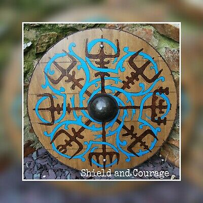 18  Viking Shield For Children , Viking Compass, Wood Burn, Leather, Wooden Hand • 65£