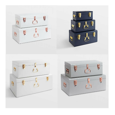 Set Of 2 Luxury Storage Box Trunks Ottoman Chest Bench Bedroom Living Room New • 139£