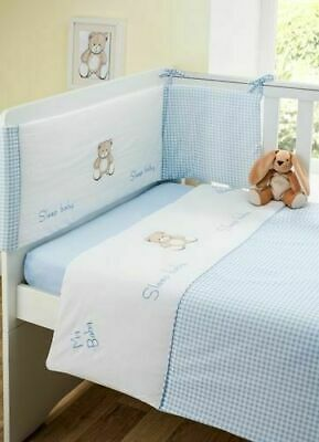£22.99 • Buy Blue Teddy Boys Nursery Baby Bale Bedding Set 3Pc Quilt, Bumper & Fitted Sheet