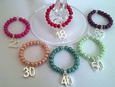 Birthday Wine Glass Charms 18th 21st 30th 40th 50th 60th 65th 70th 80th  • 1.10£