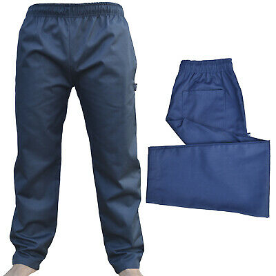 £10.99 • Buy Navy Chef Trousers Excellent Quality Elasticated Pants 3 Pockets Navy Trousers