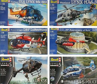 Revell 1/32 Aircraft Helicopter Military Civilian New Plastic Model Kit 1 32 • 17.95£