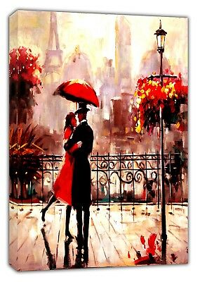 Couple In Paris Dancing Oil Pain Re Print  On Framed Canvas Wall Art Home Decor • 9.49£