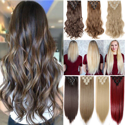 £14.20 • Buy ON CLEARANCE Clip In 100% Real Natural As Human Hair Extensions 8 Pcs  Long Wavy