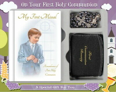 £16.99 • Buy Boys First Holy Communion Gift Set Comes With A  Missal, Rosary & Purse Catholic