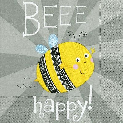 £4.20 • Buy Paper Napkins (Packet X 20) Bee Happy Party Crafting Decoupage