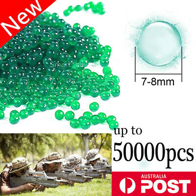 AU5.94 • Buy 50000x Crystal Water Balls Jelly Gel Beads Ammo Orbeez Green 7-8mm HARDENED