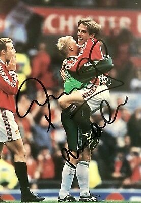 Peter Schmeichel & Phil Neville HAND SIGNED Manchester United Treble Photograph • 29.99£