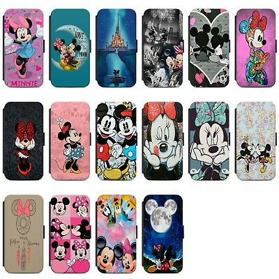 Disney Minnie Mouse Colourful Faux Leather Flip Case Cover For IPhone Samsung • 8.99£