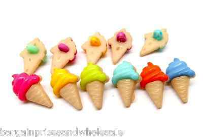 £2.35 • Buy 20pc Mixed ICE CREAM CONES Craft Themed Buttons Sweet Food Beach Summer 22x13mm