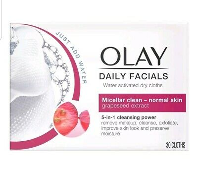 AU26.33 • Buy OLAY Daily Facials Water Activated Dry Cloths 5 In1 Cleansing Power- 30 Cloths