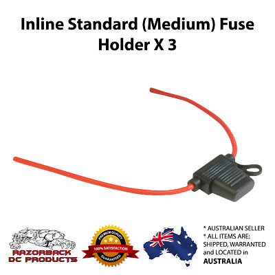 AU11 • Buy 3 X INLINE STANDARD WEDGE FUSE HOLDER HEAVY DUTY 10 AWG Suits 5 AMP TO 40 AMP