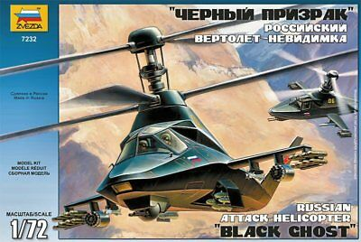 Zvezda 7232 Russian Stealth Attack Helicopter Black Ghost Kamov Ka-58 1/72 Scale • 19.95£