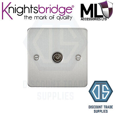 £8.99 • Buy Knightsbridge Flat Plate Brushed Chrome, 1 Gang TV Outlet, Non-isolated