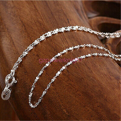 £6.59 • Buy Genuine Solid 925 Sterling Silver 1.0mm Starry Silver Chain Necklace Italy Gift