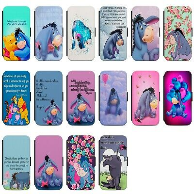 Disney Eeyore Quotes Colourful Faux Leather Flip Case Cover For IPhone Samsung • 9.49£