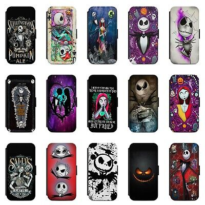 Nightmare Before Christmas Jack Sally Faux Leather Case Cover For IPhone Samsung • 8.99£
