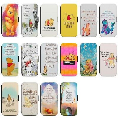 Disney Winnie The Pooh Quotes Faux Leather Flip Case Cover For IPhone Samsung • 8.99£