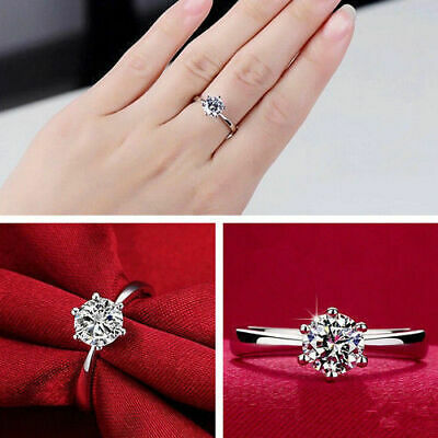 Womens Round Rings Silver Plated Ring Band Cubic Zirconia Fashion Engagement New • 2.99£