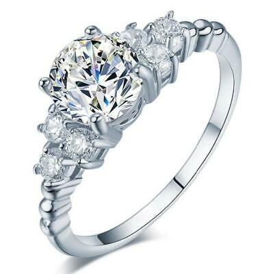 $9.99 • Buy Pave 1.5 Ct CZ 925 Sterling Silver Engagement Promise Solitaire Ring RS68