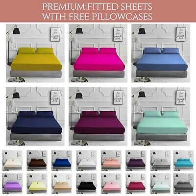 Fitted Bed Sheet Percale T180 Thread Count Single Double King 4FT OR Pillowcases • 3.98£